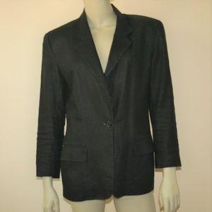 DKNY Vintage Classic Black Linen Blazer Size 2 XS